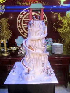 Our wedding cake. It had chocolate custard pumped up the inside, and flowed down the helter skelter. YUMMY!! James Perry (Masterchef finalist) made it with his wife & team.