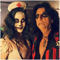 Alice Cooper -- Me and my #Nurse. #Showtime! Time to #RaiseTheDead!  Awesome! Nurse Rozetta is my costume this year.