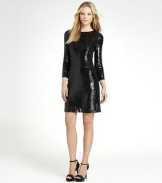Tory Burch black sequin long sleeve stretchy cocktail dress XS NWT $895 #ToryBurch