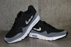 4e4fb5bb29ac Swarovski Women s Nike Air Max 1 Ultra Moire Black Gray Sneakers Blinged  Out With Authentic Clear Swarovski Crystals Custom Bling Nike Shoes