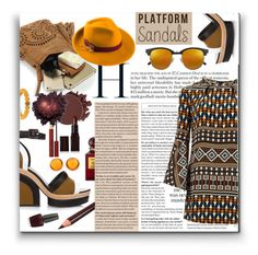 """Platform Sandals"" by marionmeyer ❤ liked on Polyvore featuring Pierre Hardy, Gucci, Yves Saint Laurent, Mademoiselle Slassi, Anastasia Beverly Hills, OPI, Kevyn Aucoin, Tom Ford, Laura Mercier and Palm Beach Jewelry"