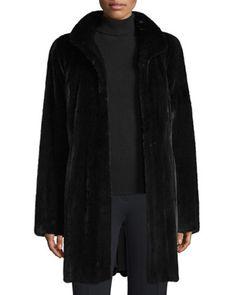 Mink+Fur+Stroller+Coat,+Ranch+Black+by+Gorski+at+Neiman+Marcus.