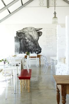 I would not mind a huge painting like this one on my dining room wall! Babylonstoren, Città del Capo