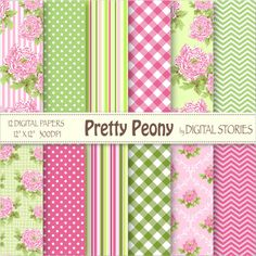 "Floral Digital Paper: ""PRETTY PEONY"" Hot pink green flower shabby chic digital paper for scrapbooking, invites, cards  - Buy 2 Get 1 Free"