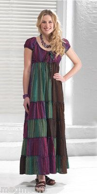 From Namaste Fair Trade Company Hamari stripe cap sleeve maxi dress in random dyed cotton seersucker Elasticated at neck sleeves and under bust pull £15.90 special offer