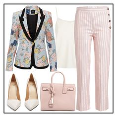 """""""Floral Blazer"""" by rosky ❤ liked on Polyvore featuring The Row, Victoria, Victoria Beckham, Francesco Russo, Yves Saint Laurent and Smythe"""