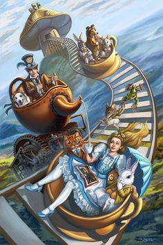 I wanted to do another Steampunk Alice in Wonderland painting to top the old one I did from 2009 of the Steampunk Alice in Wonderland with the Caterpill. Steampunk Alice in Wonderland Teacup Rollercoaster Alice In Wonderland Artwork, Alice In Wonderland Steampunk, Fantasy Kunst, Fantasy Art, Chesire Cat, Alice Madness, Fairytale Art, Lewis Carroll, Mad Hatter Tea