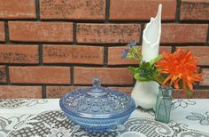 Windsor Blue Candy Dish &  Cover by VintageMason on Etsy