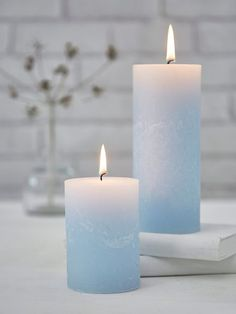 Blue and silver candles for stargate table Or blue candle with silver pen chevron symbols drawn on