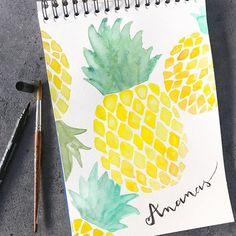 watercolor pineapple   Aquarell Ananas