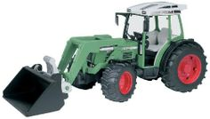 Bruder Toys Fendt Farmer 209 S W. Frontloader by Bruder. $28.99. Realistic details and functions encourage imaginative play. Great for use indoors and outdoors. Made in Germany. Constructed out of fade-resistant, high-quality ABS plastic, with no glue or screws. Recommended Age Range 3+ Years. From the Manufacturer                An all-purpose front-loading tractor for any job! This expandable tractor features steerable front wheels that operate with the included steering a...