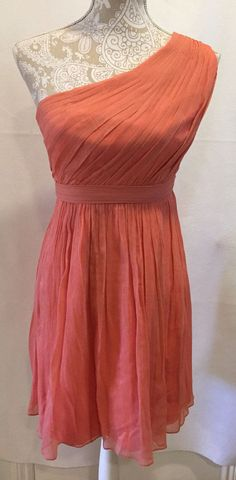 J Crew Silk Coral One Shoulder Soft Crinkled Kylie Dress Petite Sz 4 Retail $228 #JCrew #EmpireWaist #Cocktail