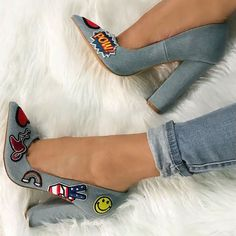 Denim Patch Pumps