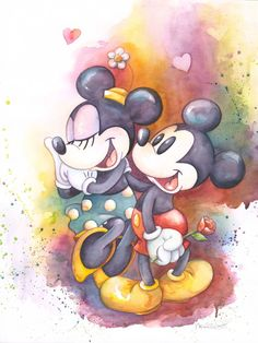 Mickey and Minnie Mouse Disney Fine Art Michelle St. Laurent Holding Hands Giclée on Canvas Size: 24 x 18 Edition of 195 Disney Fine Art Disney Mickey Mouse, Arte Do Mickey Mouse, Mickey Mouse E Amigos, Mickey Love, Mickey Mouse And Friends, Mickey Minnie Mouse, Cute Disney, Disney Dream, Disney Magic