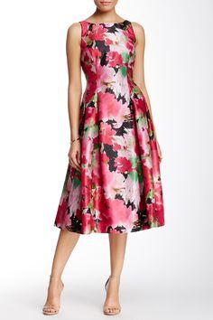 Floral Shantung Tea Length Dress by Tahari on @nordstrom_rack