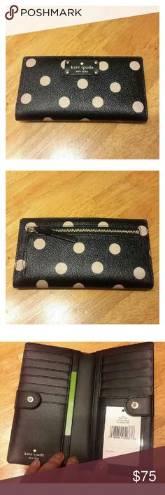 ⚪SALE!⚪ New! Kate Spade Polka Dot Stacy Wallet Brand new with tags, Beautiful Kate Spade Polka Dot Print 'Stacy' Wallet. Black with Light Pink. Many Slots For All Your Cards And Zippered Compartment In Back For Coins. Snap Button Closure. $99 Retail. Final Price! kate spade Bags Wallets