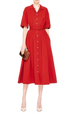 Obsessed with this glam shirtdress! Jane Cotton-Twill Shirtdress by Rosie Assoulin - Moda Operandi Red Frock, Camisa Formal, Casual Dresses, Summer Dresses, Resort Dresses, Vestido Casual, Plus Size Womens Clothing, Couture Dresses, Beautiful Gowns