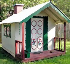 DIY Playhouse Plans for this adorable, movable, Life-size Dollhouse.  Build your own cottage, fort or party house!