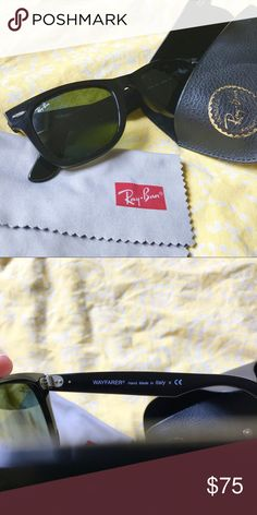 Ray-Ban Original Wayfarer Classic Black Sunglasses Worn less than five times. Has some minor, hardly noticeable scratches on the frame. Comes with the original leather case and the Ray-Ban cleaning cloth. Smoke-free and pet-free home. Ray-Ban Accessories Sunglasses