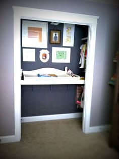 what a fabulous idea! take a closet and put in and free hanging changing pad..(that the right wording?) How ingenious!!