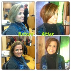 Before and After Color, Cut and Keratin Express Treatment. Hair by Adela. Kirkwood Ginger Bay Salon and Spa