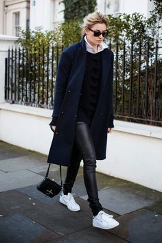leather skinnies & navy coat.