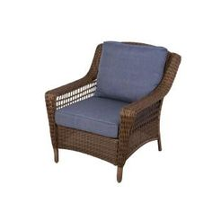 Hampton Bay Spring Haven Brown All-Weather Wicker Patio Lounge Chair with Sky Blue Cushions 66-20301 at The Home Depot - Mobile