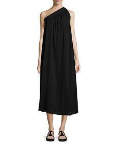 Helmut Lang Petite One Shoulder Silk Blend Trapeze Dress Black Women's Contemporary Dresses, Helmut Lang, Dress Outfits, Lace Dress, Midi Skirt, One Shoulder, Silk, Clothes For Women, Dress Black
