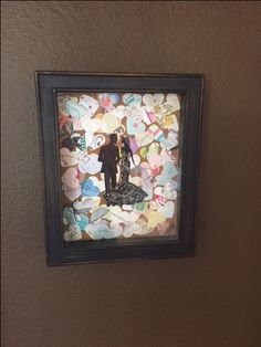 What to do with wedding cards. Shadowbox wedding memories. Frame from hobby lobby, heart cut out from Micheals. The couple was taken off of the front of a papyrus card we received