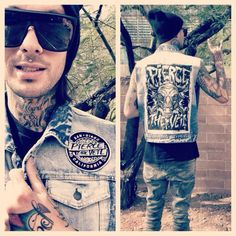 Mike showing off Pierce The Veil's new merch-I want that vest.---->> forget the vest I'll take mike>>>> NO I WANT BOTH