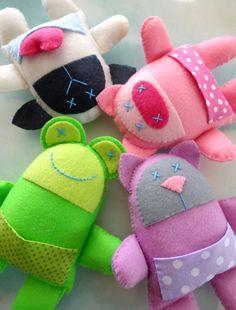 Nueve Softies animales de fieltro coser por preciouspatterns