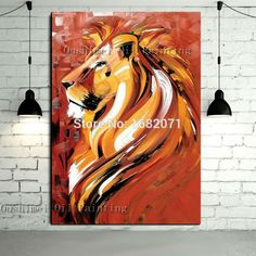 Interior Decoration Items Hand Painted Abstract Animal Portrait Oil Painting On Canvas Abstract Lion Oil Painting For Wall Decor