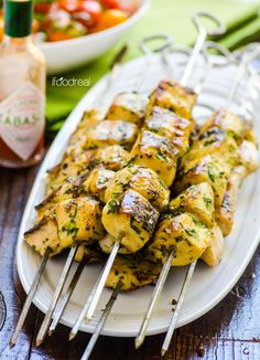 Grilled Spicy Cilantro Fish Kebabs -- Tuna marinated in a simple marinade of cilantro, apple cider vinegar and Tabasco for as little as 30 minutes and then quickly grilled. #TABASCO10