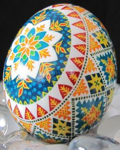 Duck Egg Pysanka by Katrina Lazarev, Pysanky. Amazing detail and a steady hand with her kistka     ( tool used to apply beeswax).