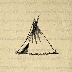 Printable Tepee Image Graphic Indian Tepee by VintageRetroAntique
