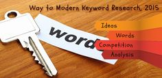 """Way to Modern Keyword Research, 2015  Your Ideas: Your Words: Perform Analysis: Competition: Backlinks , Onpage seo ,content , Domain Authority"""
