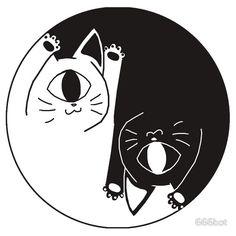 """yin nyang"" T-Shirts & Hoodies by Flash Art, Hippie Art, Cat Tattoo, Cat Drawing, Art Reference Poses, Aesthetic Art, Cat Art, Art Inspo, Illustration Art"