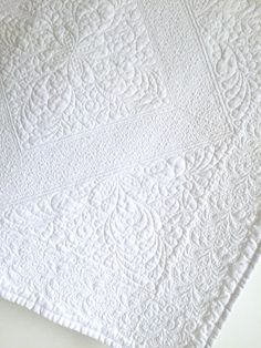 Whole Cloth Baby Quilt in Elegant White by KimsQuiltingStudio