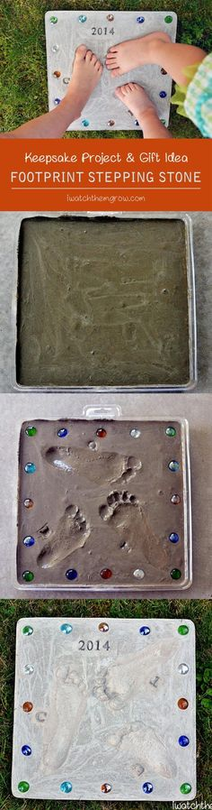 This DIY footprint stepping stone is a perfect keepsake for the garden! Makes a really cute gift for grandparents and Mother's Day or Father's Day! (Cement Step Diy)