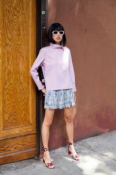 Atlantique Ascoli shirt, H&M skirt, Charlotte Stone shoes, Illesteva sunglasses
