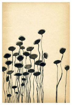 "yama-bato:    Victoria BurgeBook Flowers 2007 ink on book page 9.5"" x 6.5"""