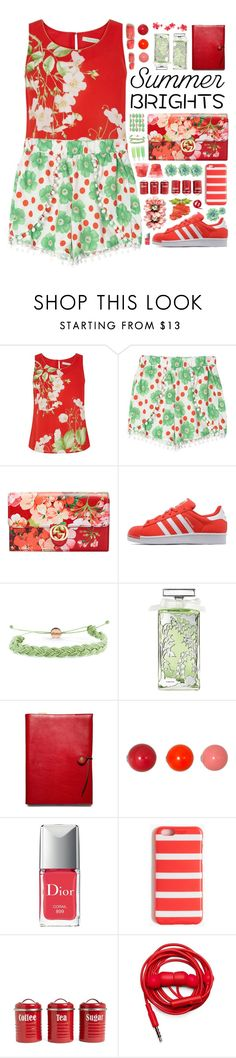 """""""""""Summer Brights"""" - Contest"""" by arierrefatir ❤ liked on Polyvore featuring Oasis, Gucci, adidas Originals, Domo Beads, Guerlain, Coach, Vitra, Christian Dior, J.Crew and Typhoon"""