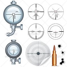 Scope and Crosshair Set. Illustrations of Scopes, Optic Sight, Crosshairs, Target and Bullet Holes.
