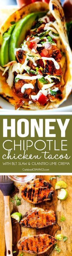 Honey Chipotle Chicken Tacos ~ stuffed with wonderfully juicy, flavor packed honey chipotle bacon chicken piled with crispy BLT Slaw and cilantro lime crema!
