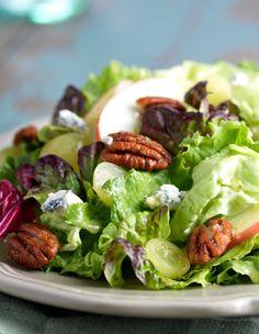 Fresh Express Mixed Greens with Candied Pecans, Maytag and Basil Vinaigrette Salad. @Fresh Express