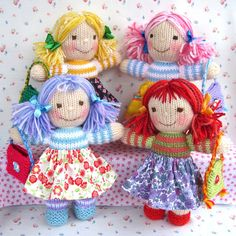 * * Written in ENGLISH * * Doll size - 23 cm (9 in) Pattern contains instructions for RAINBOW RASCALS all made from the same basic pattern. The clothes are very easy to put on and take off and children will love choosing from the rainbow selection of knitted skirts and waistcoats. The