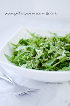 Arugula Parmesan Salad with Simple Lemon Vinaigrette   A Teaspoon of Happiness