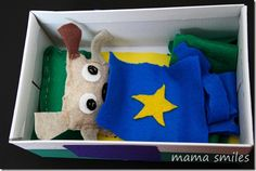 This child-sewn stuffed dog with shoebox house makes a darling hand-made gift!