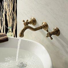 Wandmontage Zwei Griffe Drei Löcher in Antikes Messing Waschbecken Wasserhahn
