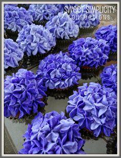 Deep Blue Hydrangea Cupcakes